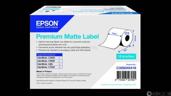 EPSON Etikettenrolle, Normalpapier, 76mm, 35m | C33S045418