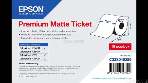 EPSON Premium Matte Ticket Roll - 80 mm x 50 m | C33S045389