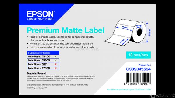 EPSON Etikettenrolle, Normalpapier, 76x51mm | C33S045534